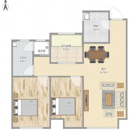 曦城花语2室2厅1卫1厨95.00㎡户型图