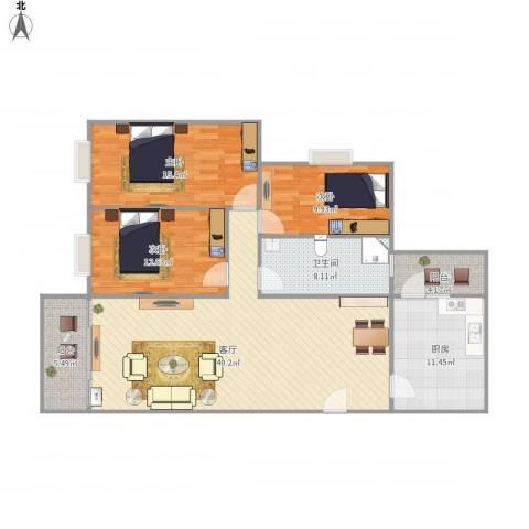 廊桥名轩3室1厅1卫1厨144.00㎡户型图