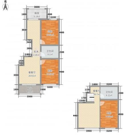 嘉乐园3室2厅2卫1厨125.05㎡户型图