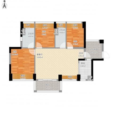 尚书悦府3室1厅2卫1厨110.00㎡户型图
