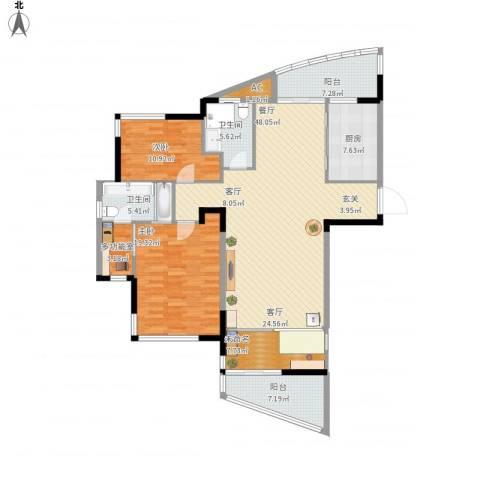 汉口春天(三期)2室1厅2卫1厨173.00㎡户型图