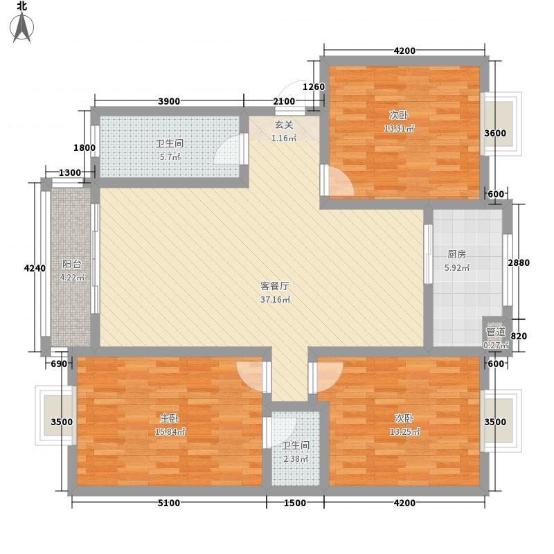 博大・长兴城124.87㎡D户型3室2厅2卫1厨