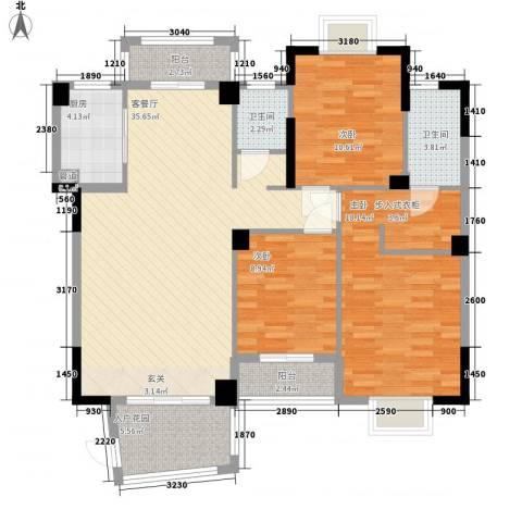 芸溪溪湖尚景3室1厅2卫1厨135.00㎡户型图