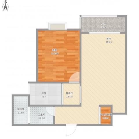 景舒苑一村1室3厅1卫1厨63.00㎡户型图