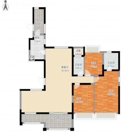 路劲天御3室1厅2卫1厨198.00㎡户型图