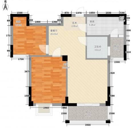 五福楼2室1厅1卫1厨90.00㎡户型图