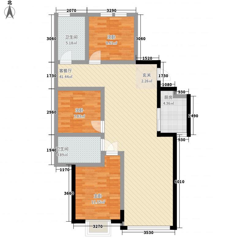 威龙尚品121.00㎡二期户型3室2厅2卫1厨