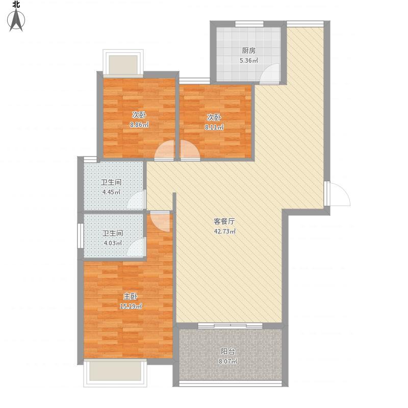 信华城市风尚A1户型三室二厅
