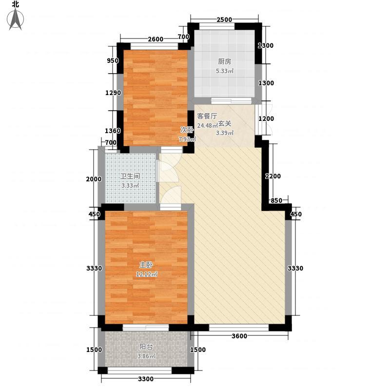 外海江南水郡75.00㎡六组团K2户型2室2厅1卫1厨