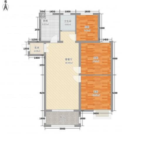 冠亨名城3室1厅1卫1厨115.00㎡户型图