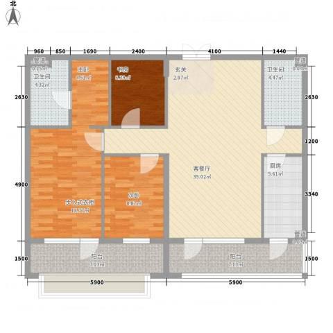 首创・龙湾2室1厅2卫1厨139.00㎡户型图