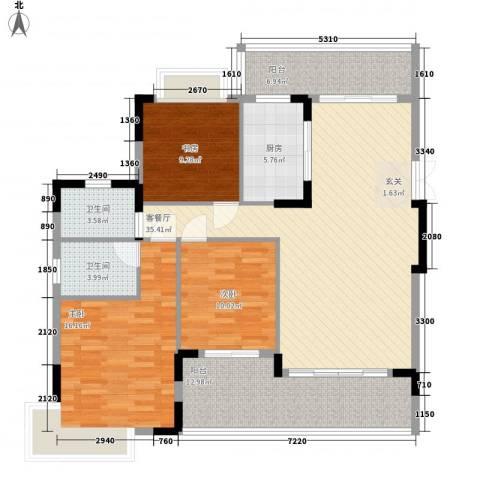 城市花园宝富阁3室1厅2卫1厨147.00㎡户型图