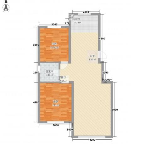 锦绣澜湾2室1厅1卫0厨77.17㎡户型图