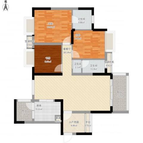 半岛花园3室1厅3卫1厨128.00㎡户型图