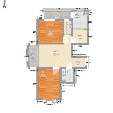 优度社区2室2厅1卫1厨72.00㎡户型图