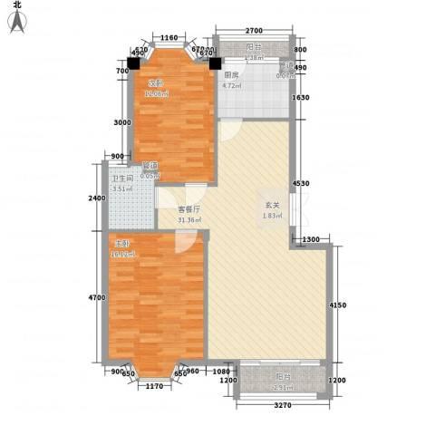 坤程花苑2室1厅1卫1厨91.00㎡户型图