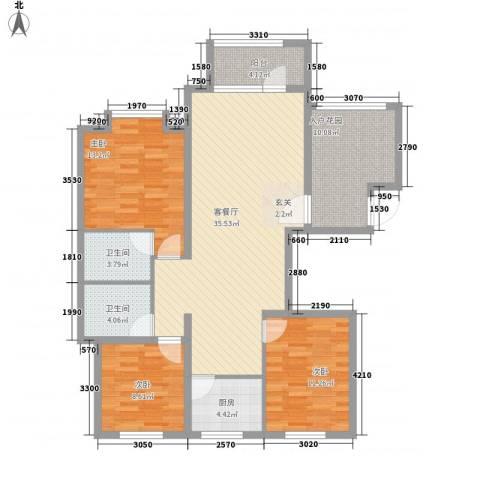 御府天苑3室1厅2卫1厨135.00㎡户型图