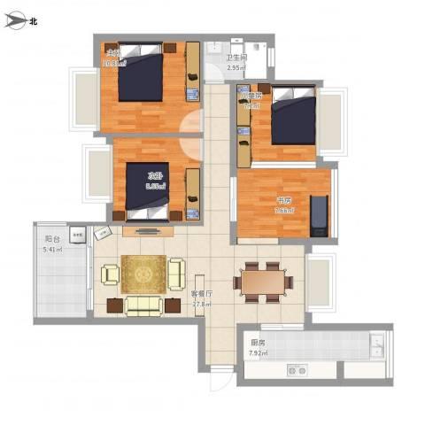 晶蓝上城1#6034室1厅1卫1厨112.00㎡户型图
