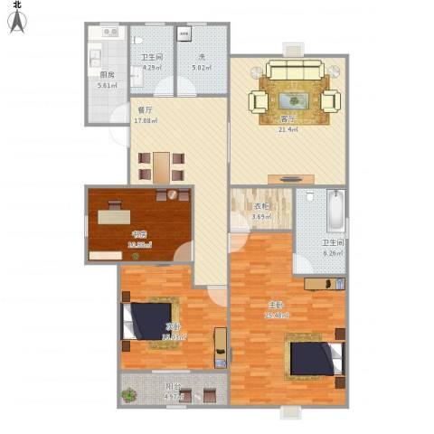 南岸晶都花园3室2厅2卫1厨161.00㎡户型图