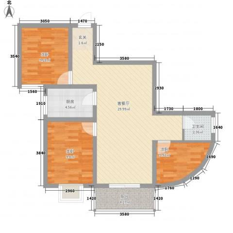 瑞金福邸3室1厅1卫1厨96.00㎡户型图
