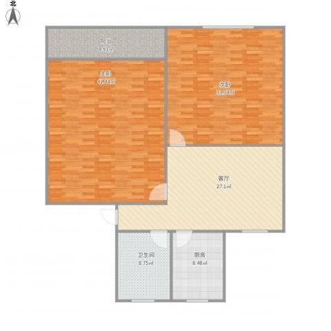 香山新村西南街坊2室1厅1卫1厨168.00㎡户型图