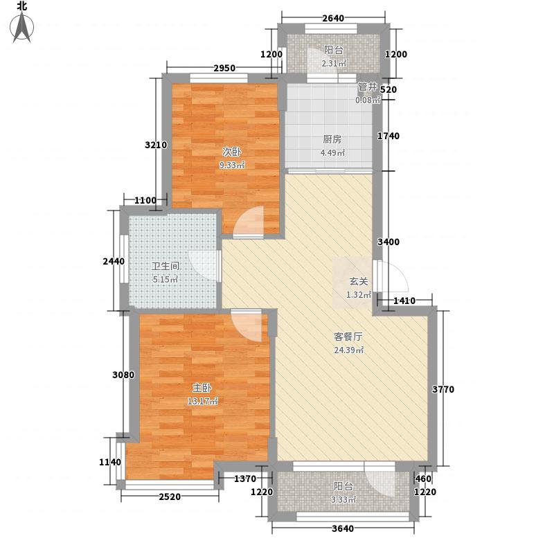 山水家园二期户型2室2厅1卫1厨