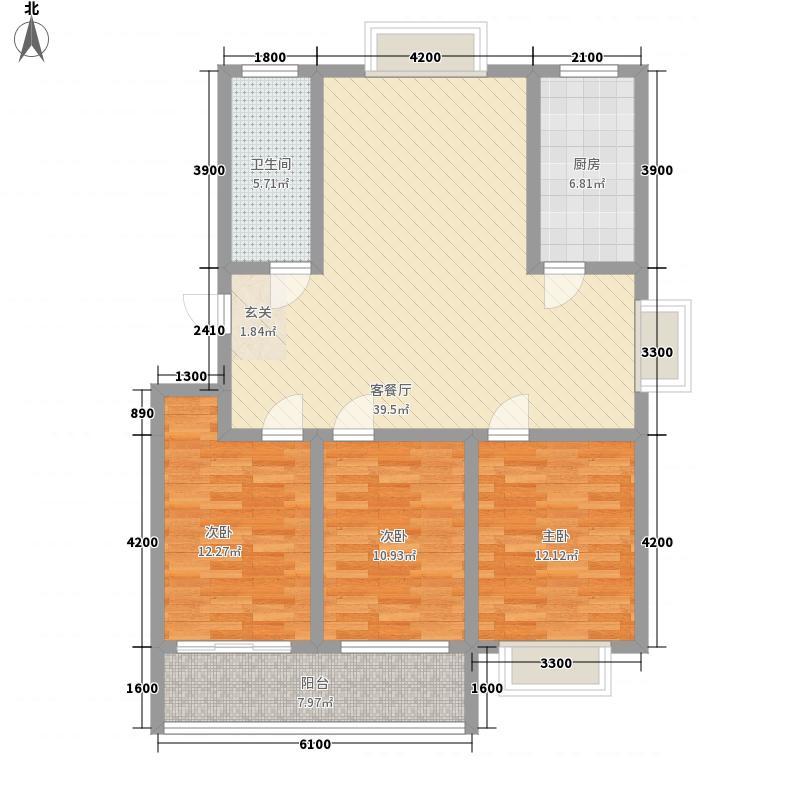 豪森花园12.00㎡多层标准层D户型3室2厅1卫1厨