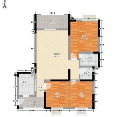锦林俊域3室1厅2卫1厨86.10㎡户型图