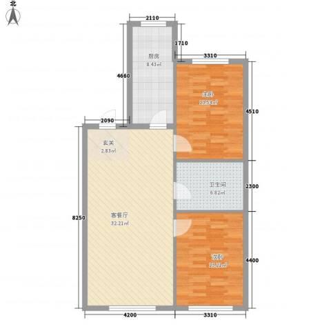 万有佳园2室1厅1卫1厨74.21㎡户型图