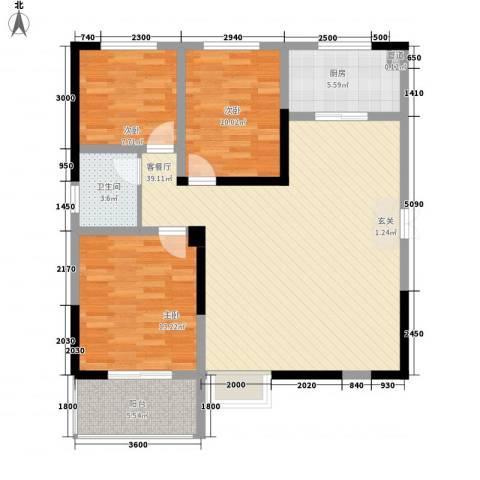 瑞金福邸3室1厅1卫1厨114.00㎡户型图