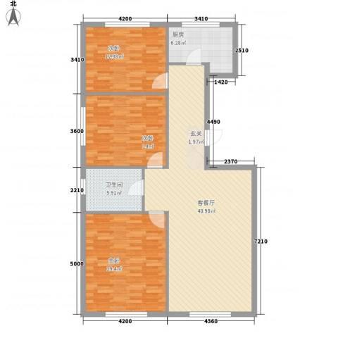 万有佳园3室1厅1卫1厨132.00㎡户型图