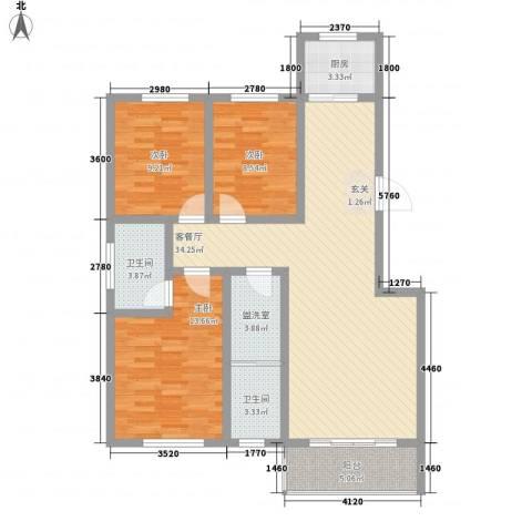 瑞金福邸3室2厅2卫1厨112.00㎡户型图