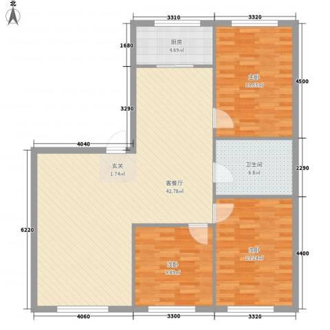 万有佳园3室1厅1卫1厨136.00㎡户型图