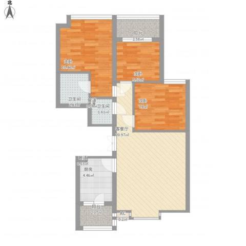 君泰风尚国际3室1厅2卫1厨85.00㎡户型图