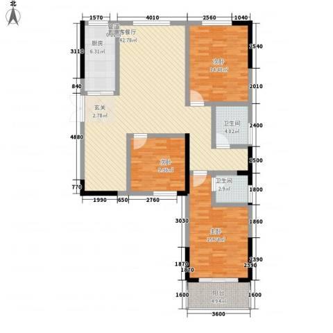 瑞金福邸3室1厅2卫1厨100.64㎡户型图