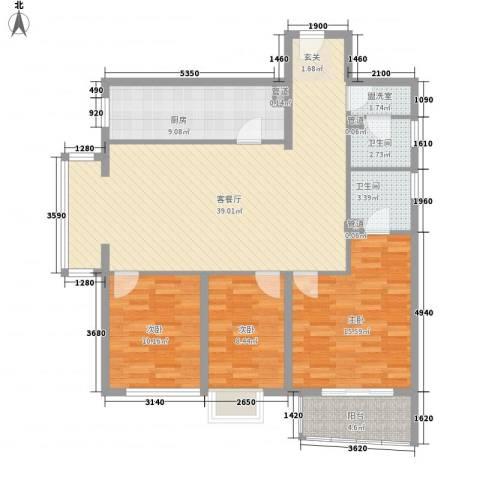 幸福家园3室2厅2卫1厨134.00㎡户型图