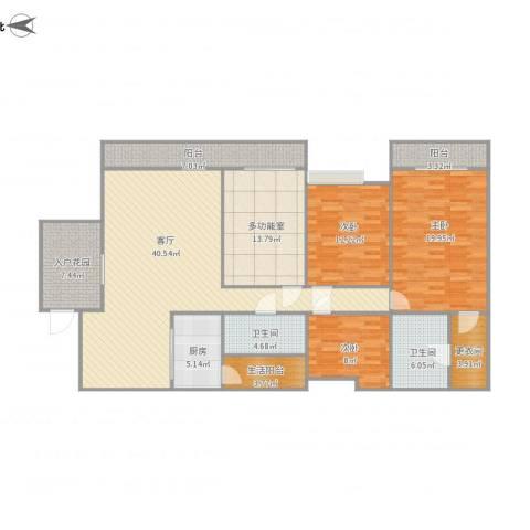 东方顺景-2栋9013室1厅2卫1厨184.00㎡户型图