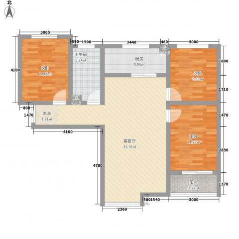 莱茵半岛3室1厅1卫1厨77.43㎡户型图
