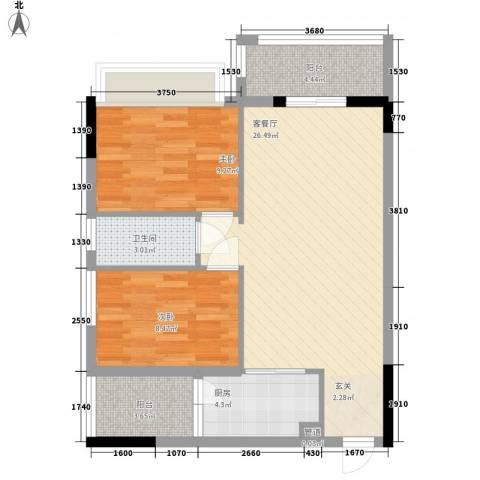 锦绣华景2室1厅1卫1厨75.00㎡户型图