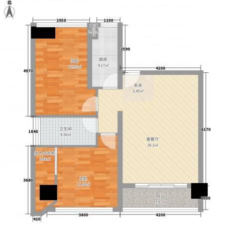 泰兴国际2室1厅1卫1厨65.50㎡户型图