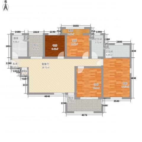 龙湖滟澜山住宅4室1厅2卫1厨141.00㎡户型图