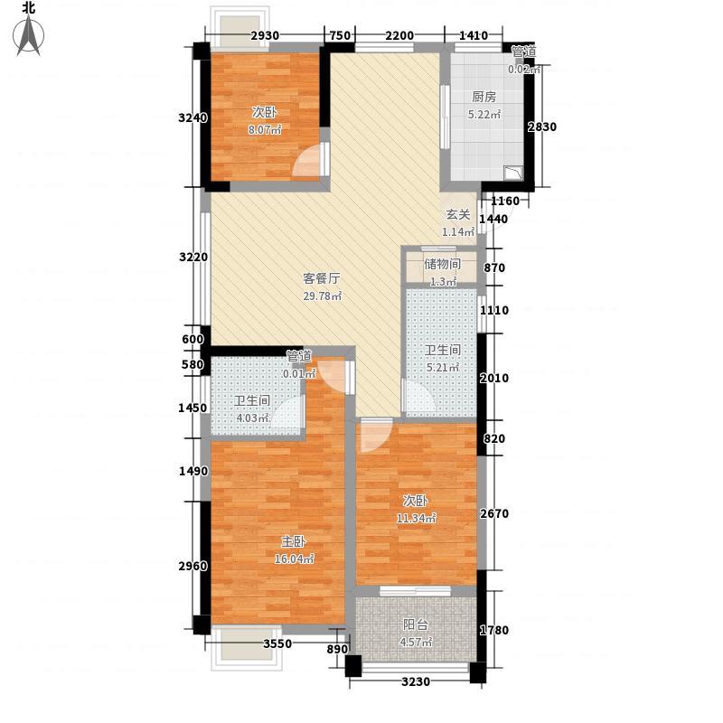 国信嘉源123.00㎡F3户型3室2厅1卫1厨