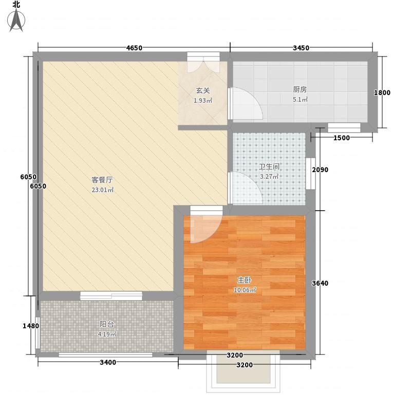 安阳中信城62.14㎡B2户型1室2厅1卫1厨