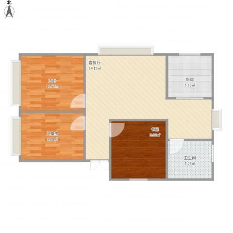 阳光花园3室1厅1卫1厨87.00㎡户型图
