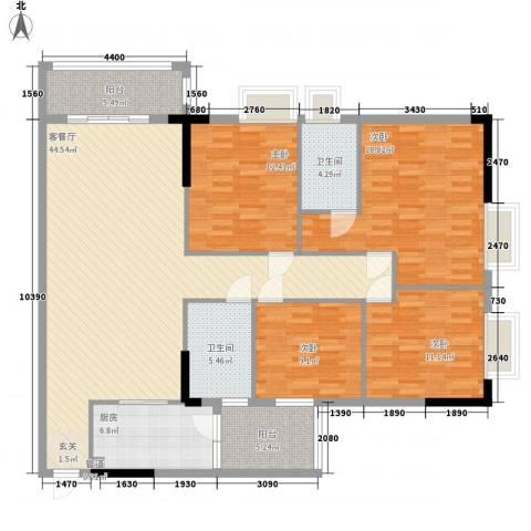 锦绣华景4室1厅2卫1厨151.00㎡户型图