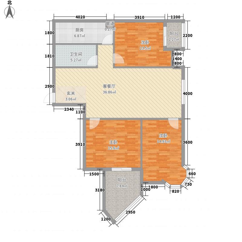 东西湖中心广场128.00㎡2号楼C3户型3室2厅1卫1厨