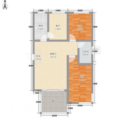 学府世家(金州)2室2厅1卫1厨74.85㎡户型图