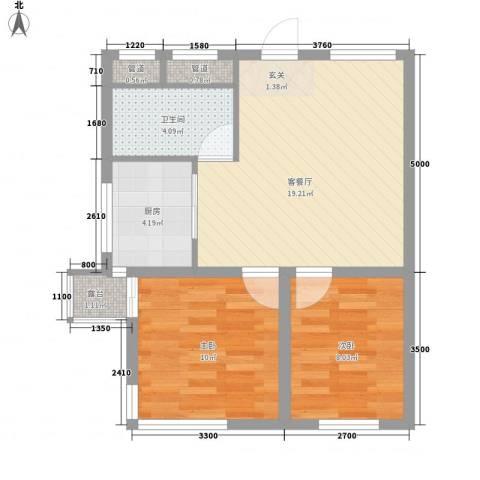 学府世家(金州)2室1厅1卫1厨67.00㎡户型图