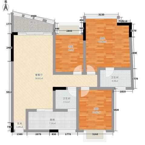 蔚蓝星湖四期3室1厅2卫1厨126.00㎡户型图