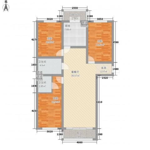 畅心园3室1厅2卫1厨94.12㎡户型图